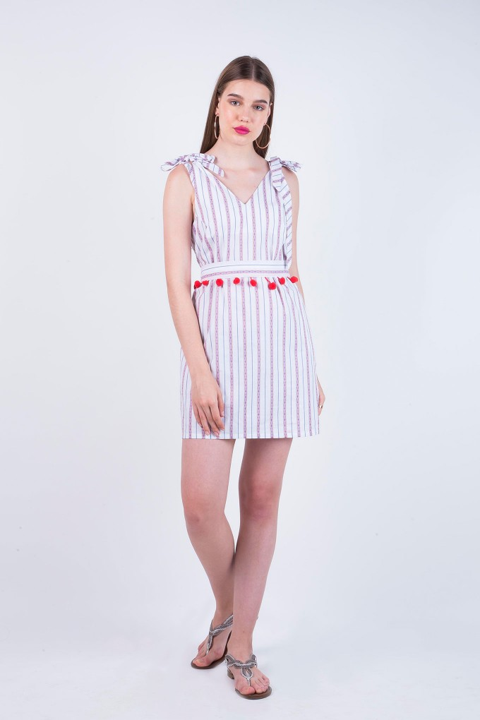 Jacqueline Stripes V- Neck Dress With POM POMS