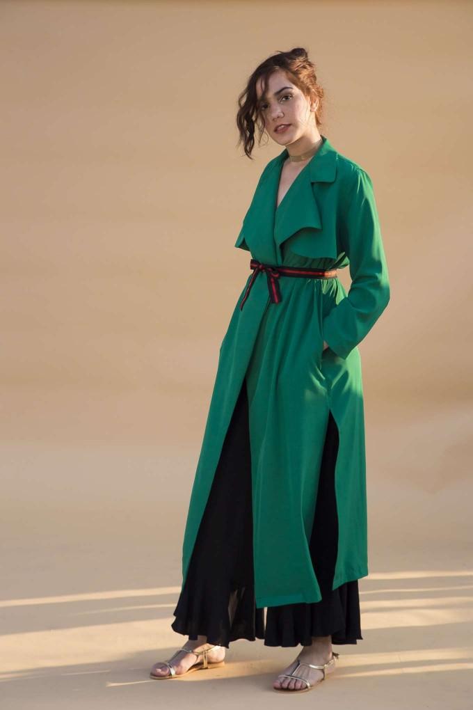 Green overcoat with belt