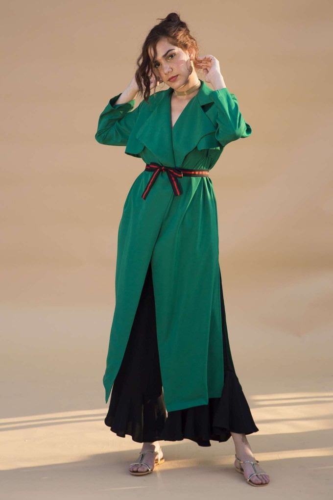 Green overcoat with belt
