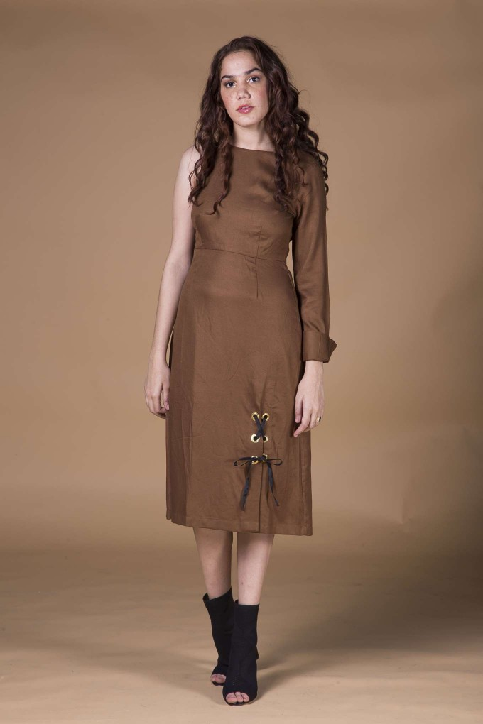 Brown long one shoulder dress with eyelets