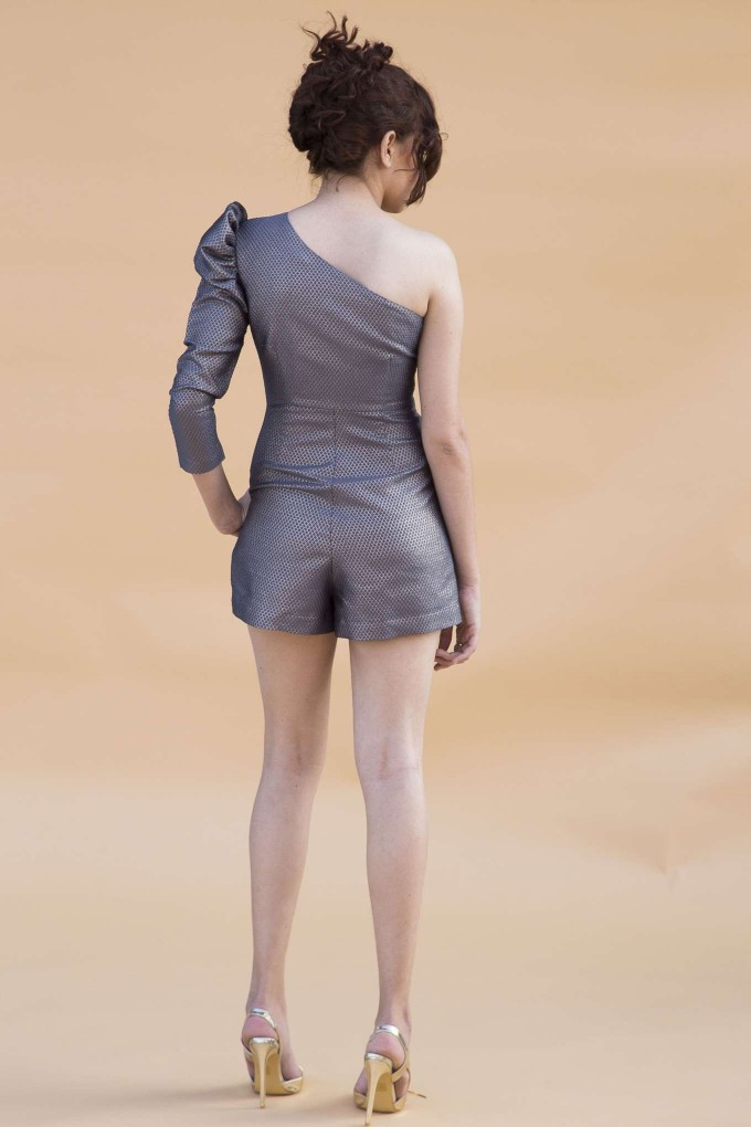 Grey & Gold one shoulder playsuit