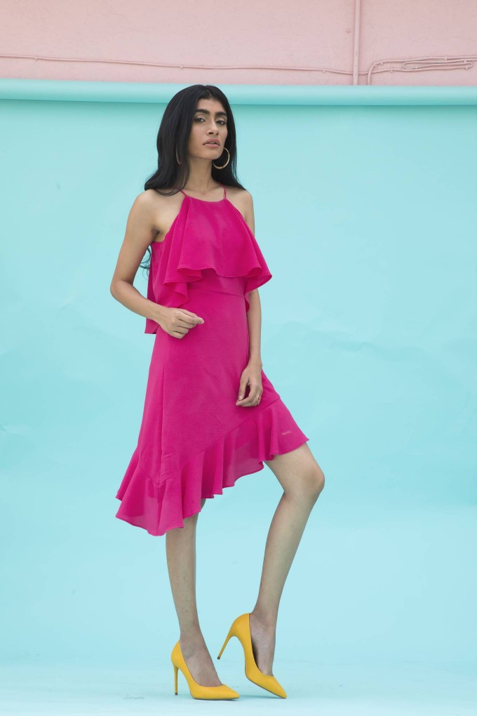 Dark pink bubble short asymmetrical dress
