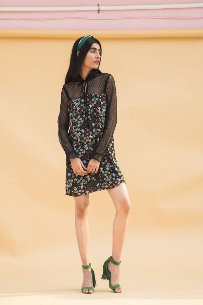 Black floral printed short dress with net sleeves