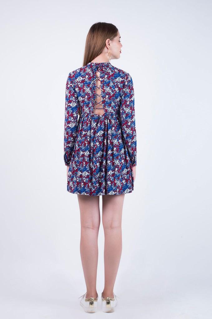 Flora Blue Round Neck Full Sleeves Dress