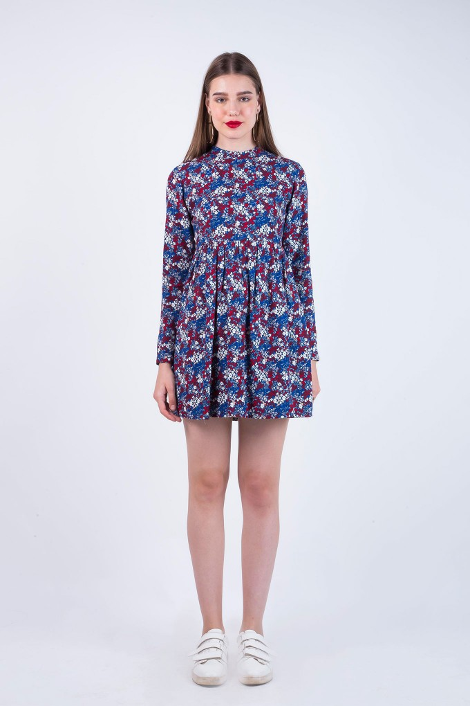 Flora Blue Round Neck Full Sleeves Dress