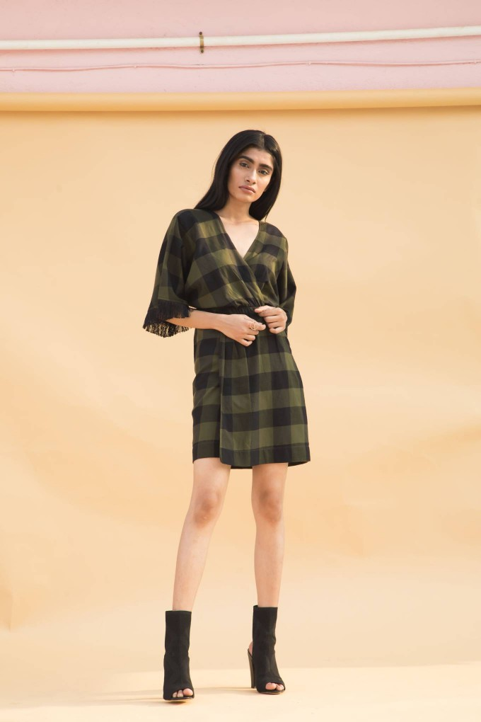 Green and black big checks short overlap dress with fringe lace