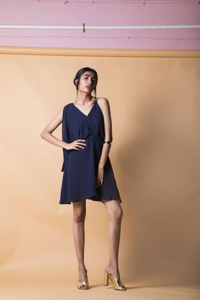a7c7591a928 Buy Hammered navy blue short one shoulder dress at Urban Suburban ...