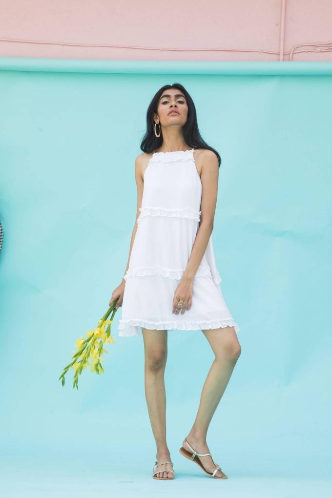 White crimpled 3 layer frill short dress