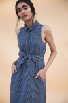 Navy blue and white thin stripes short dress with pockets and belt