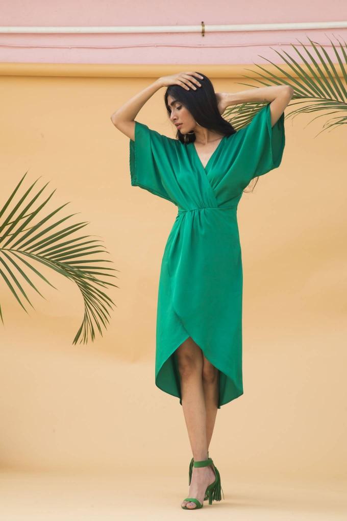 Bright green ankle length overlap dress with slip