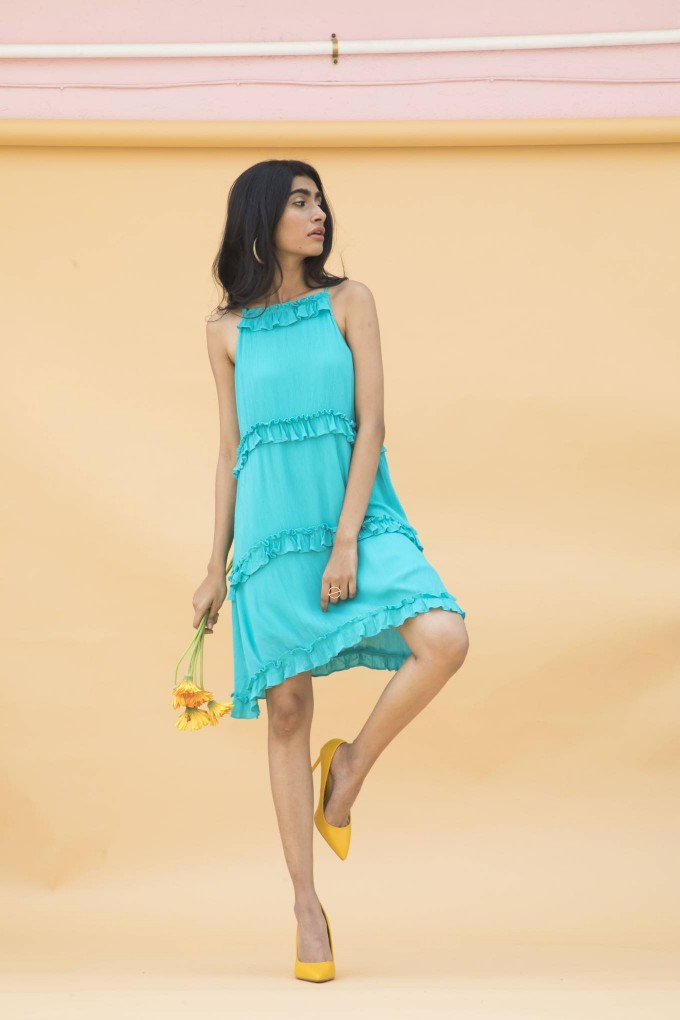 Turquoise blue 3 layer short dress