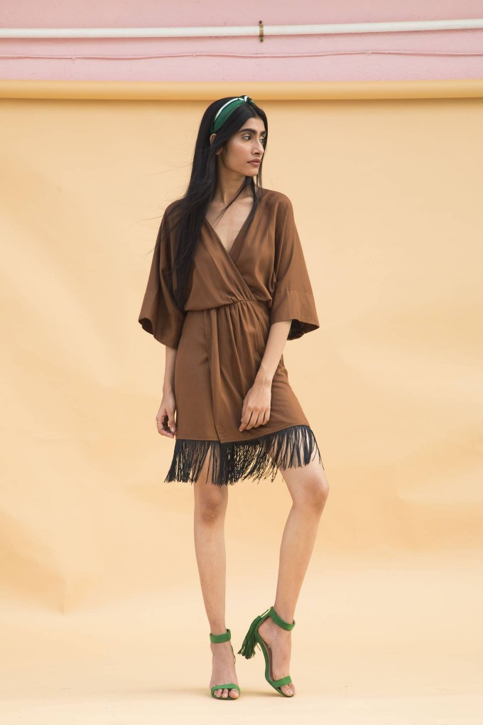 Brown overlap dress with black tassels