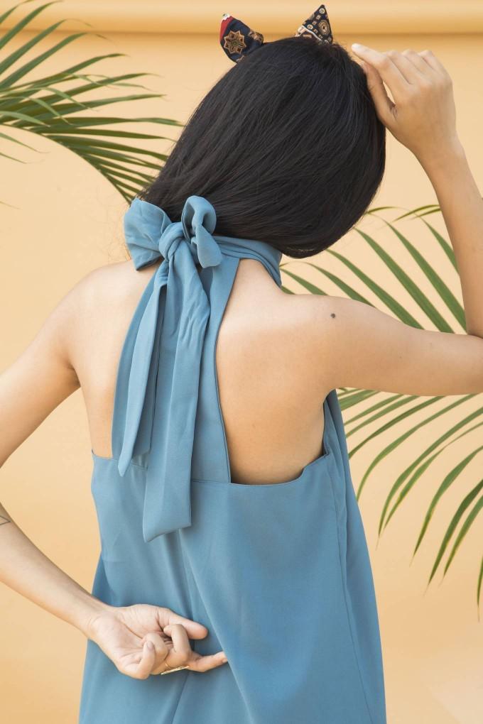 Aegean blue long halter neck dress with slit