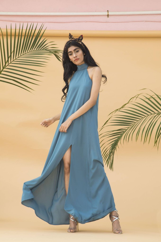 Aegean blue long halter neck dress with slit