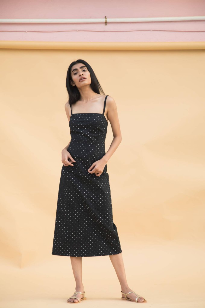 Navy blue polka dot fitted stretch midi dress