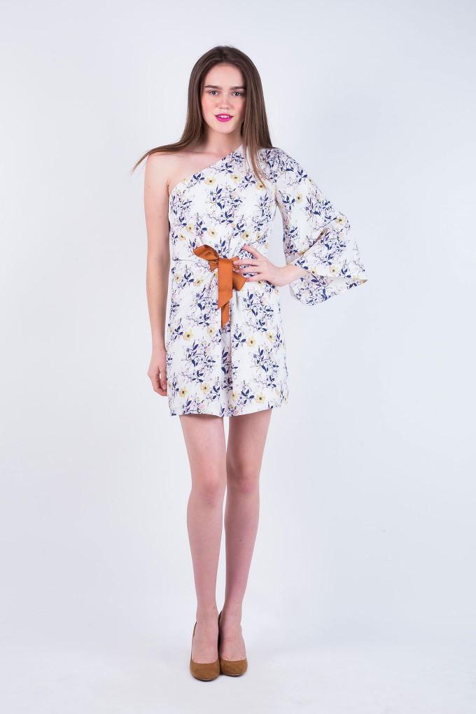 Jessie White One Shoulder Flower Dress