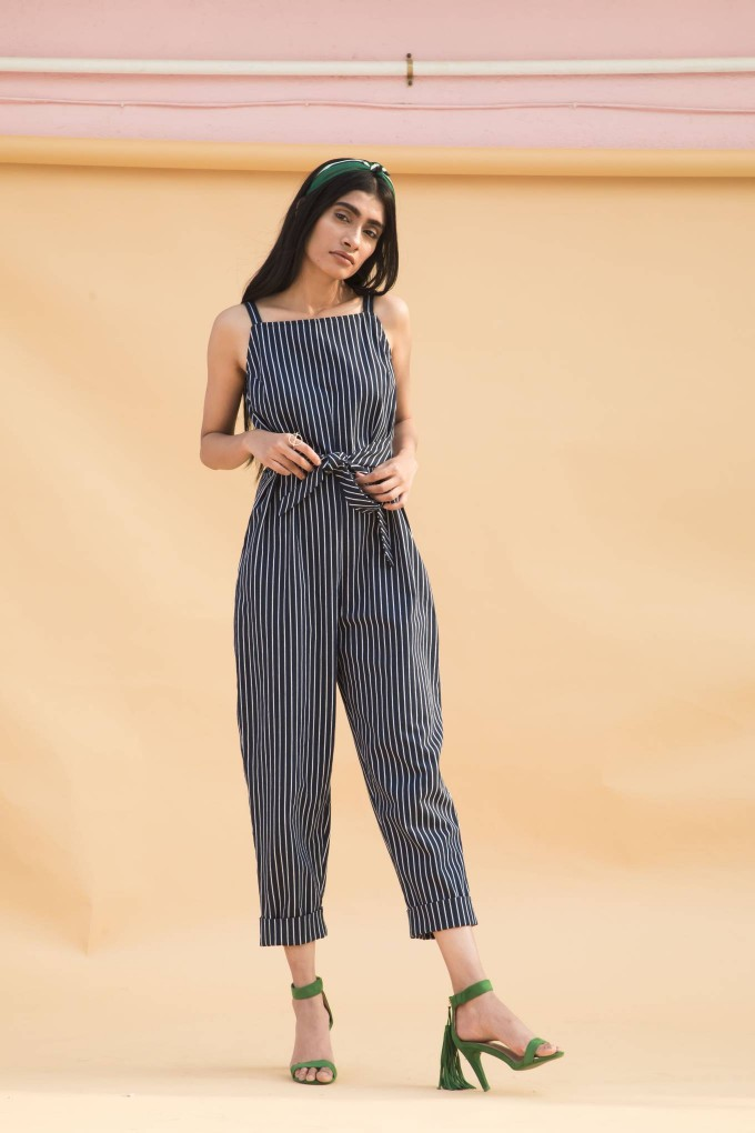 Navy blue and white bold stripes jumpsuit