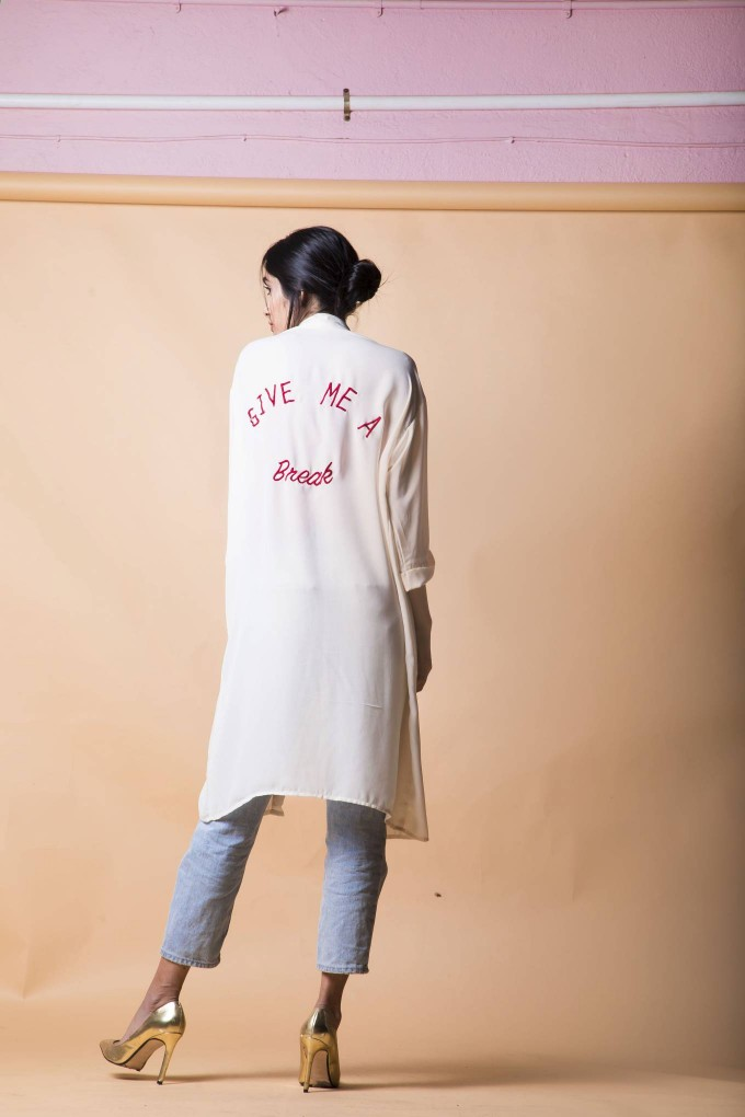 Cream cape with embroidery