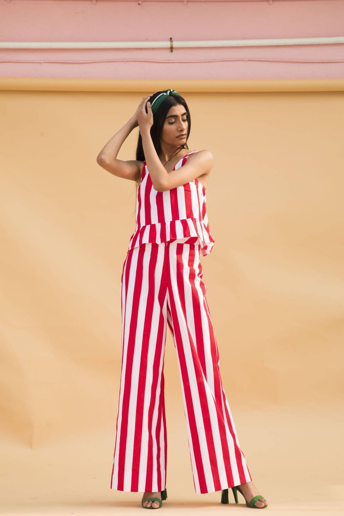 Red and white bold stripes pants