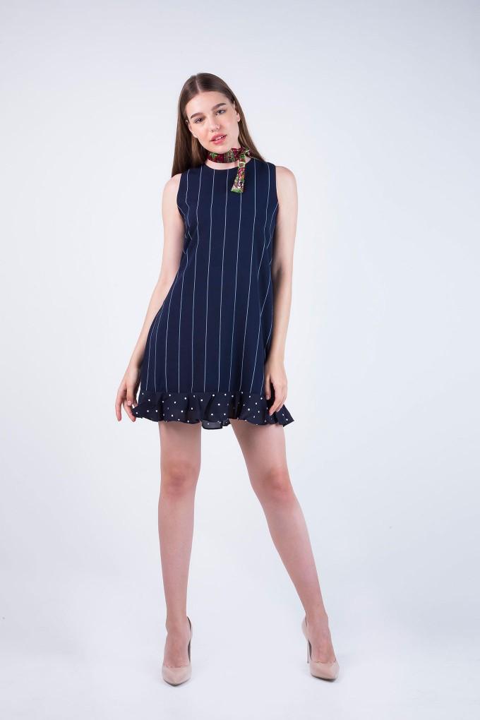 Caroline Sleeveless Blue and White Stripe Dress with Polka