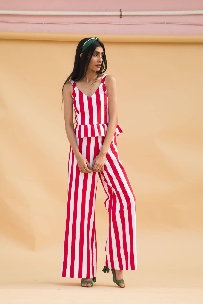 Red and white bold stripes crop top