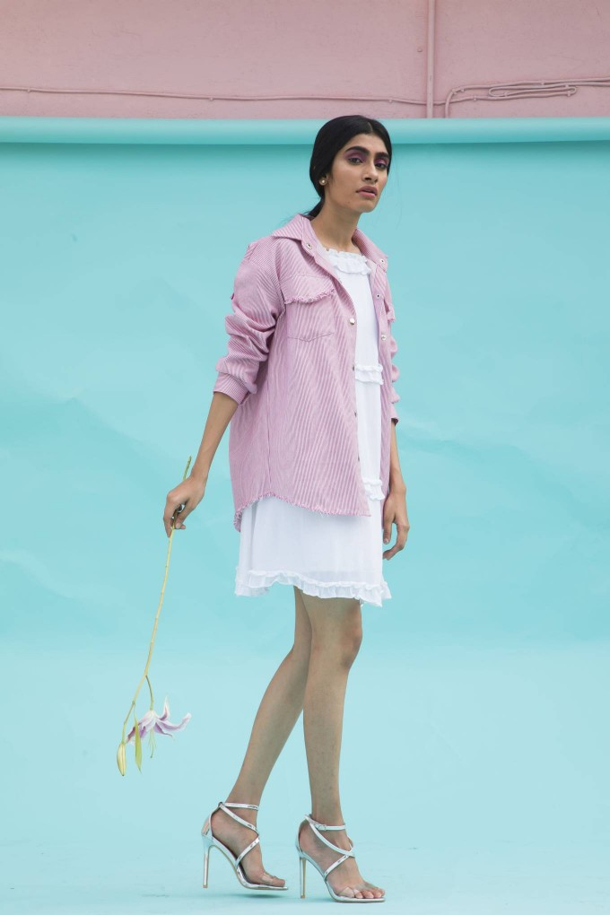 Pink & white thin stripes jacket with fringe