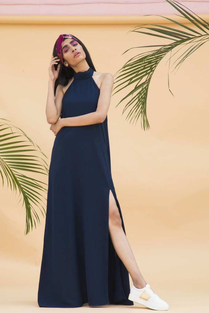 Navy blue halter neck dress with slit