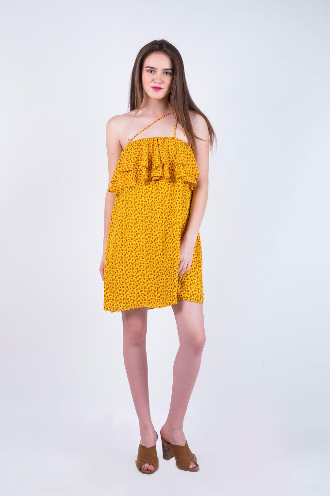 Jaime Yellow Short Floral Dress