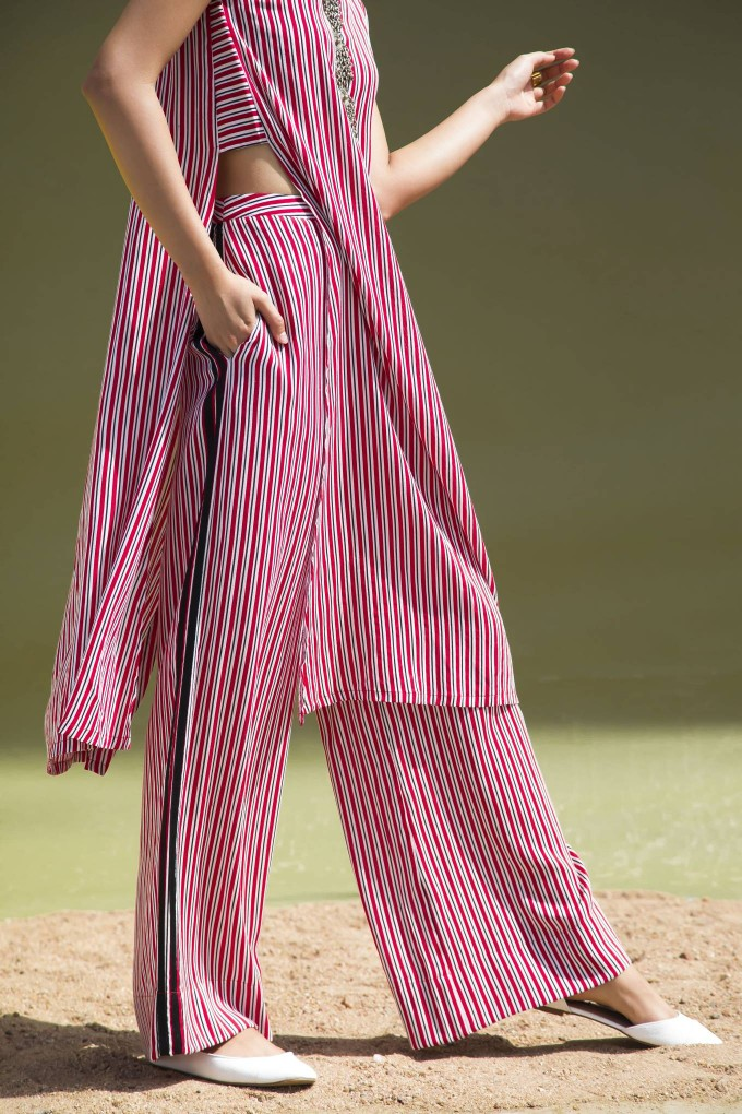 RED, BLACK AND WHITE STRIPED HIGH WAISTED PANTS