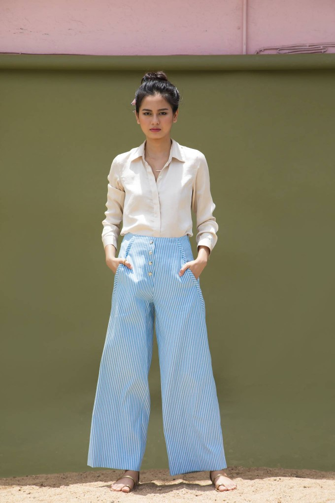 Blue and cream striped pants