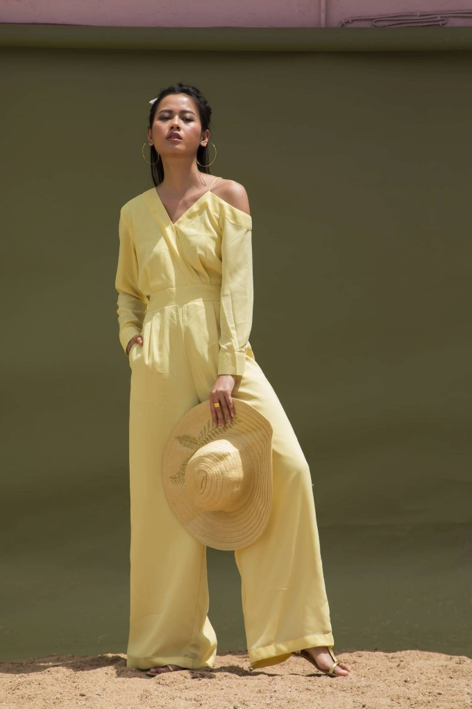 LIGHT YELLOW PARTY JUMPSUIT