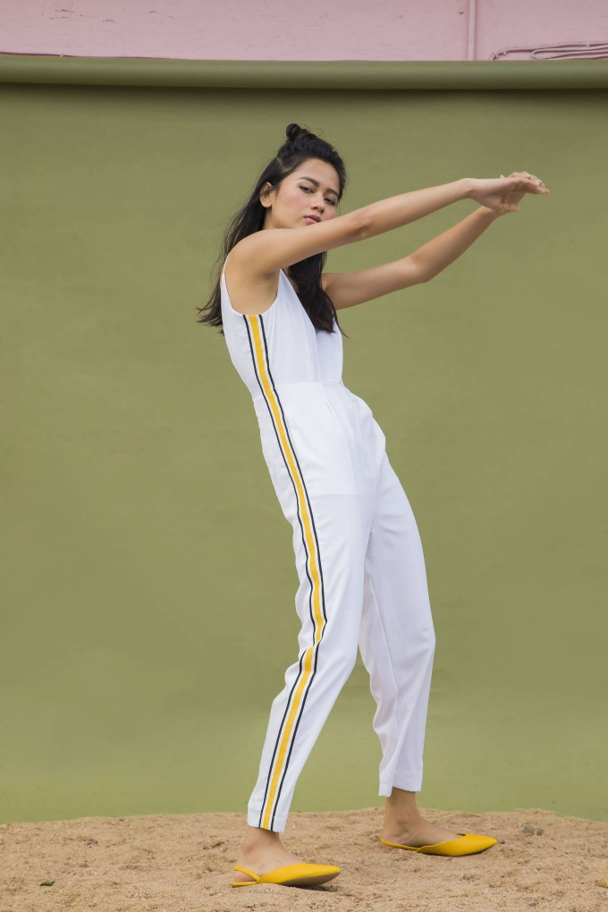 700b2eff453c Buy WHITE JUMPSUIT WITH YELLOW SPORTY TAPE ON SIDE at Urban Suburban ...