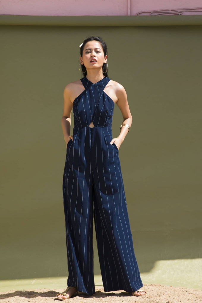 ROYAL BLUE AND WHITE CROSS FRONT NECK BROAD STRIPES LONG JUMPSUIT