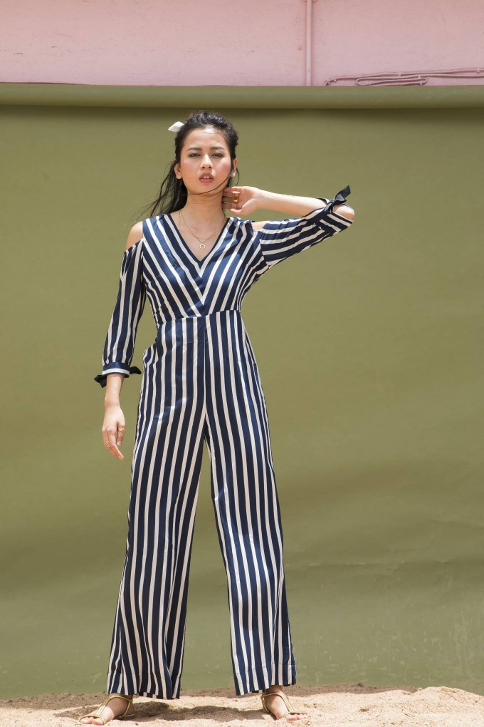 BLUE AND CREAM STRIPE LONG JUMPSUIT WITH COLD SHOULDER 3/4TH SLEEVES