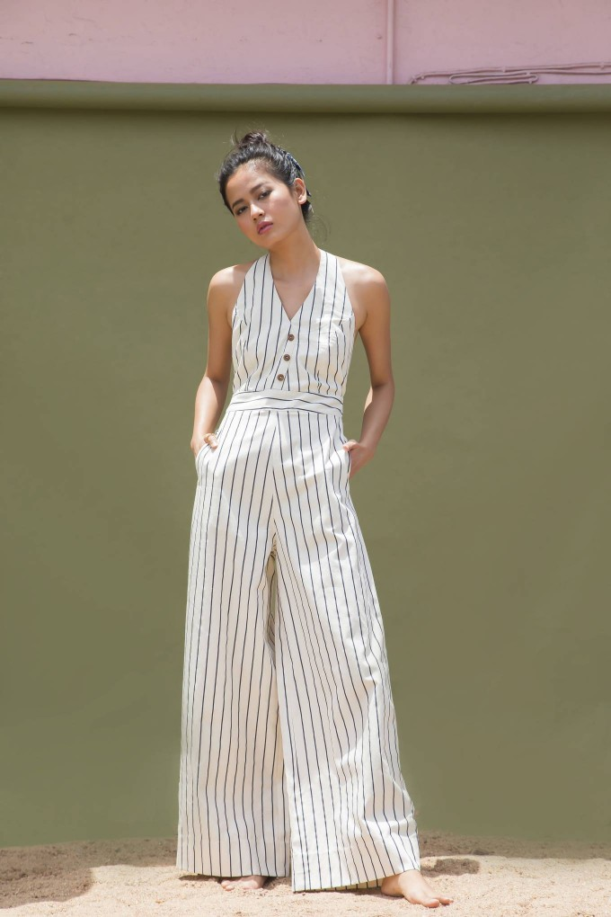 CREAM AND BLUE HALTER NECK JUMPSUIT WITH WOODEN BUTTONS