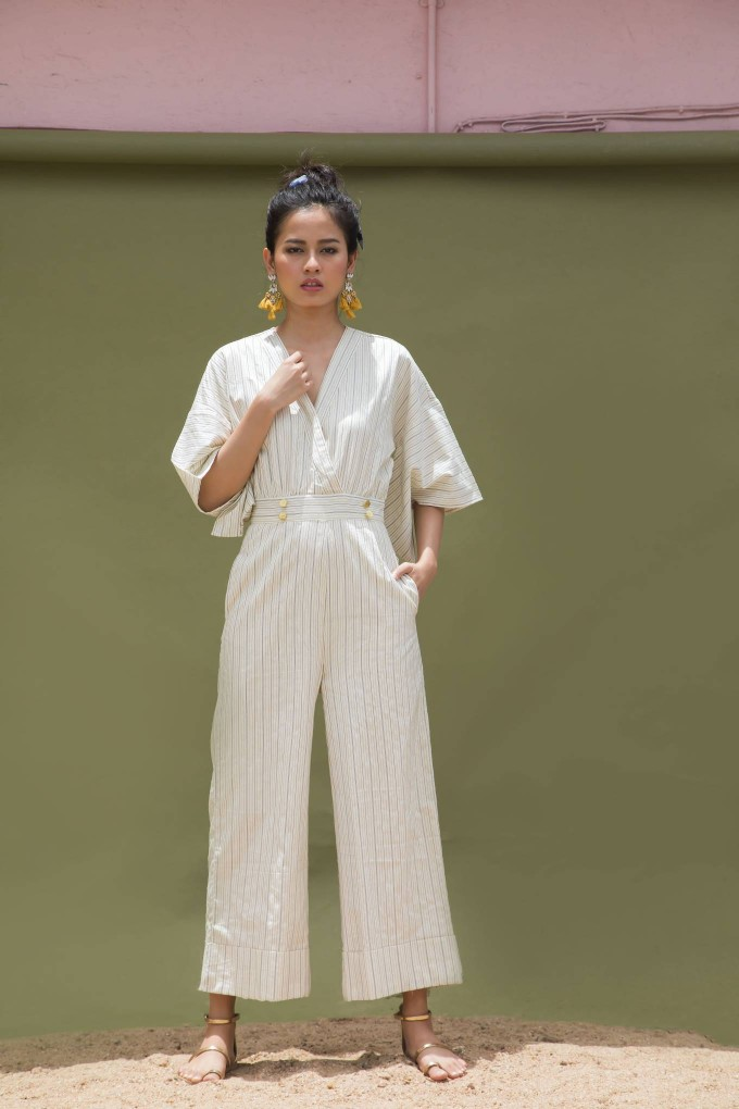 CREAM AND BLACK KIMONO SLEEVE JUMPSUIT WITH GOLDEN BUTTONS