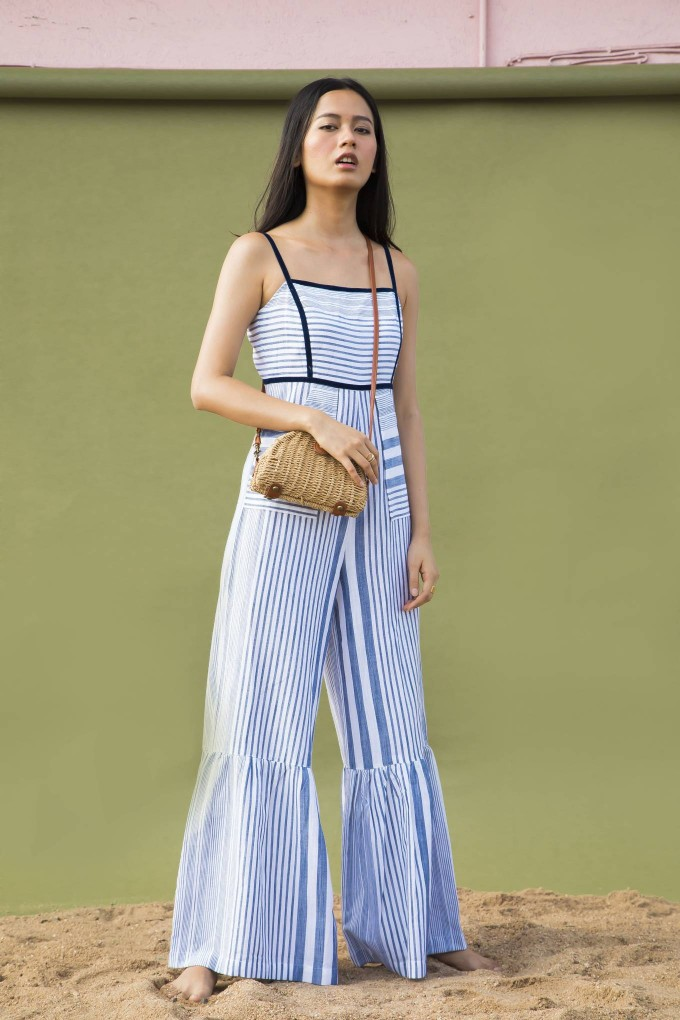 STRIPED BLUE AND WHITE SPAGHETTI JUMPSUIT WITH BLUE VELVET TAPE