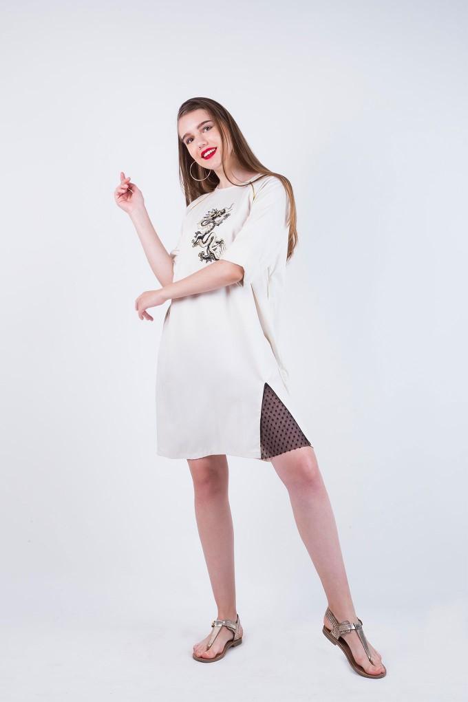 Cream Dragon Dress