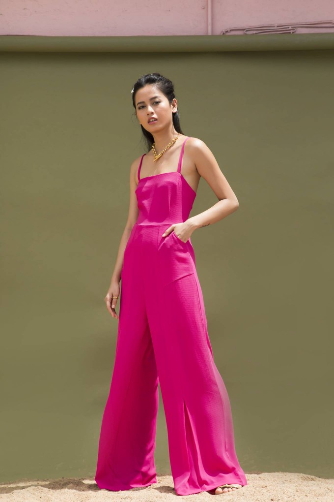 PINK LONG AND SQUARE NECK JUMPSUIT