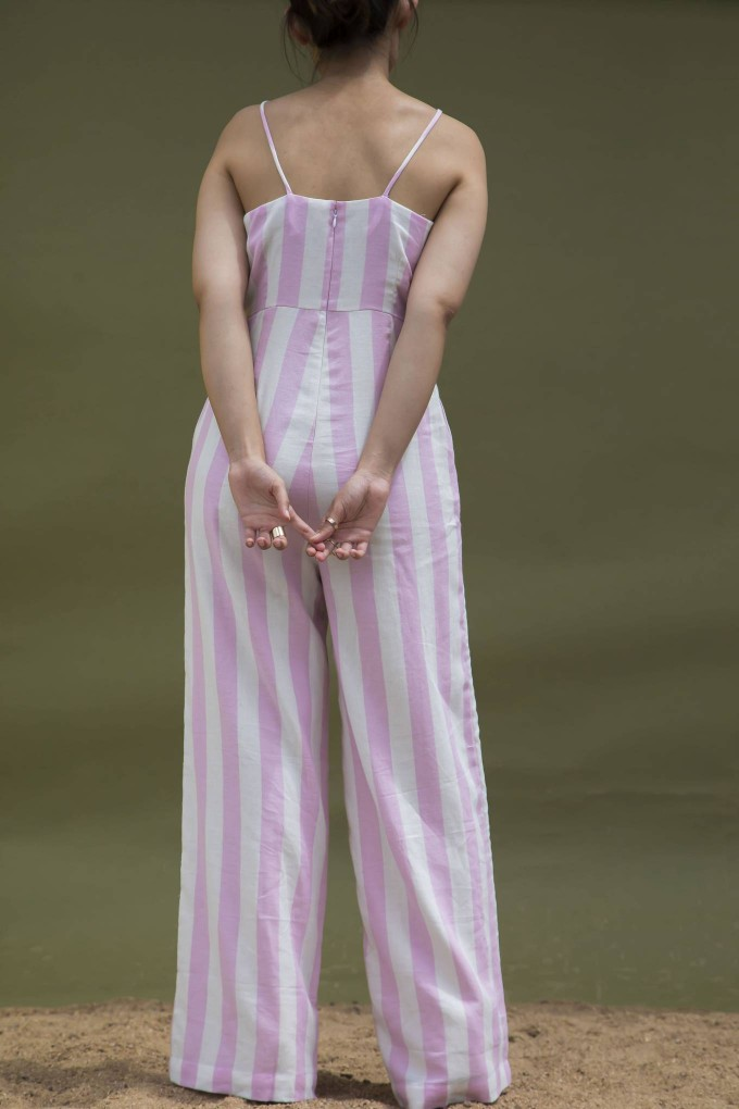 8e396cff0afe Buy White and Pink Broad Stripes Jumpsuit With Silver Button Detail ...