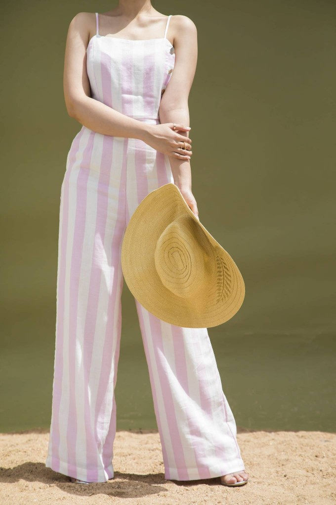 White and Pink Broad Stripes Jumpsuit With Silver Button Detail