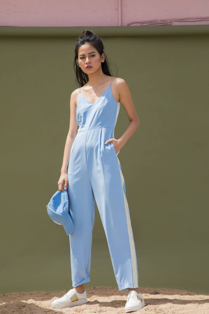 MINT BLUE JUMPSUIT WITH CREAM TAPE ON SIDE