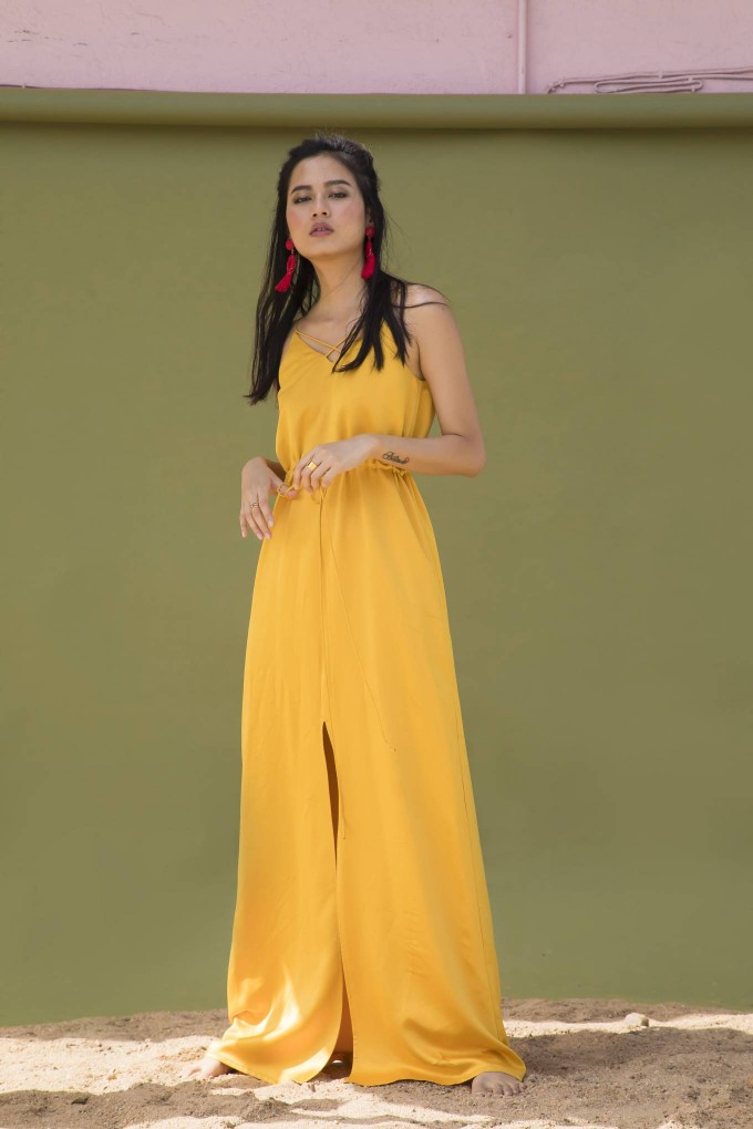 GOLDEN YELLOW LONG DRESS WITH WAIST TIE UP AND FRONT SLIT