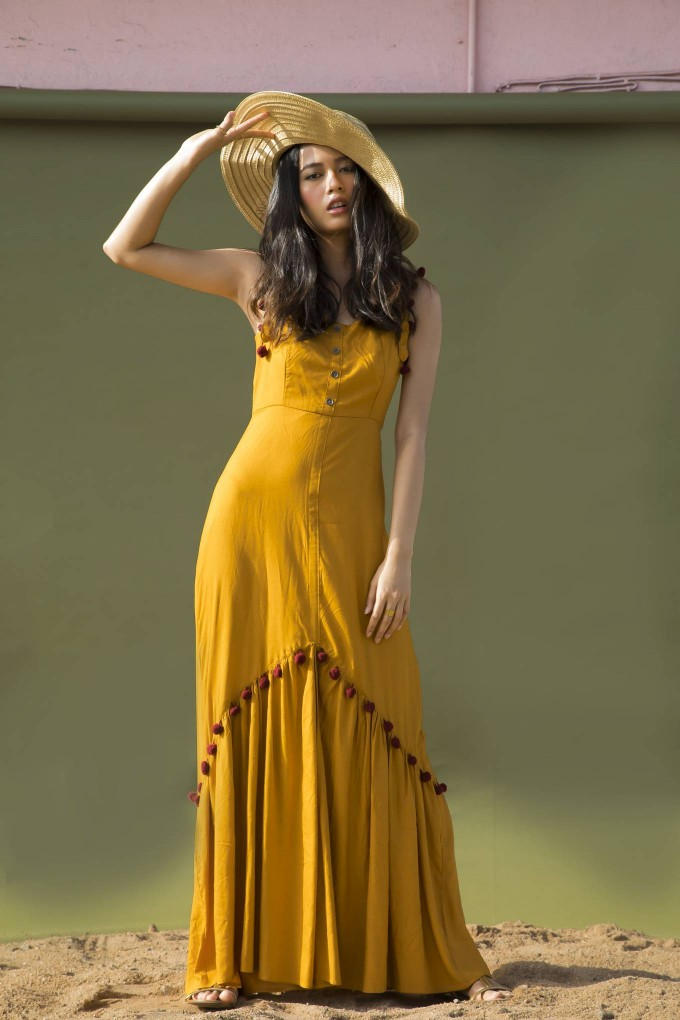 MUSTARD YELLOW LONG DRESS WITH MAROON POM POM LACE
