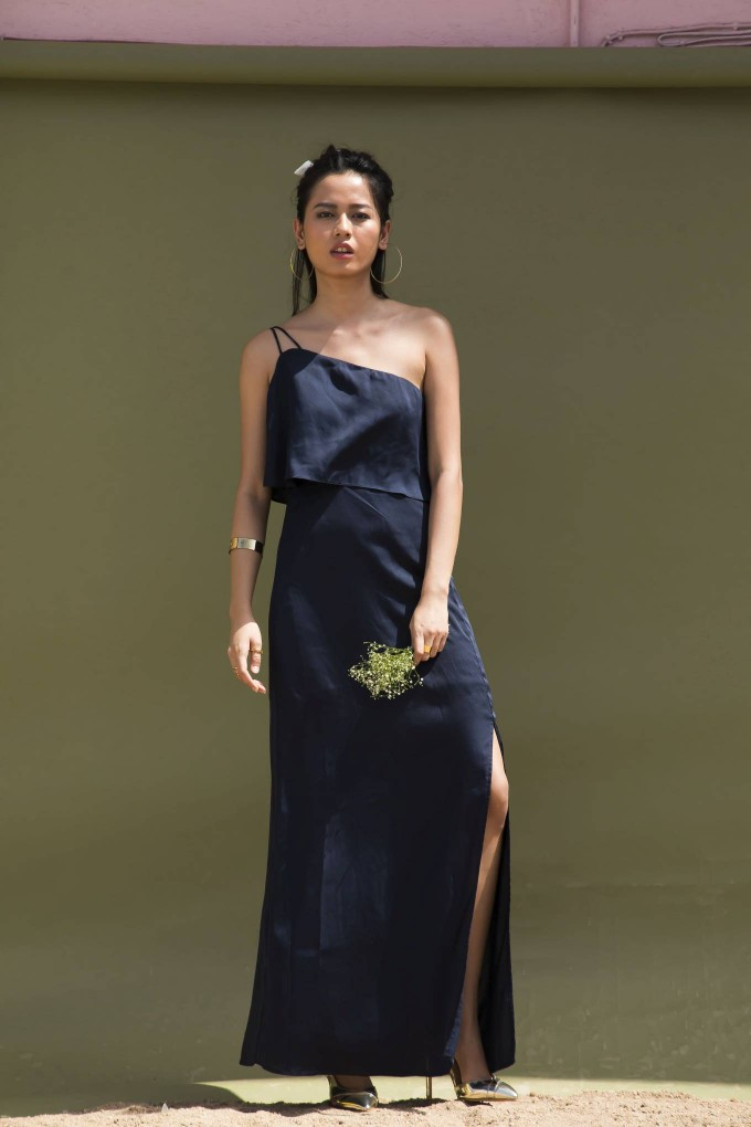 NAVY BLUE ONE SHOULDER LONG PARTY DRESS WITH SLIT