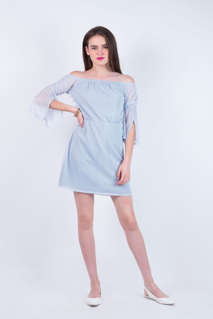 Susan Sky Blue Off Shoulder Dress