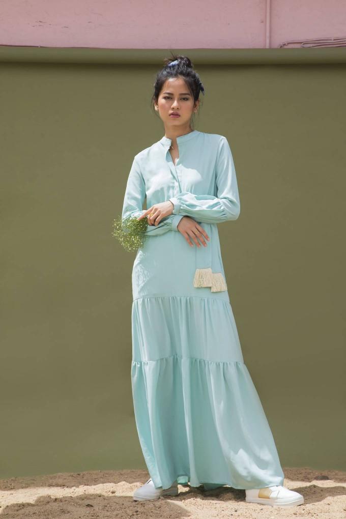 MINT BLUE LONG FULL SLEEVES DRESS WITH BELT