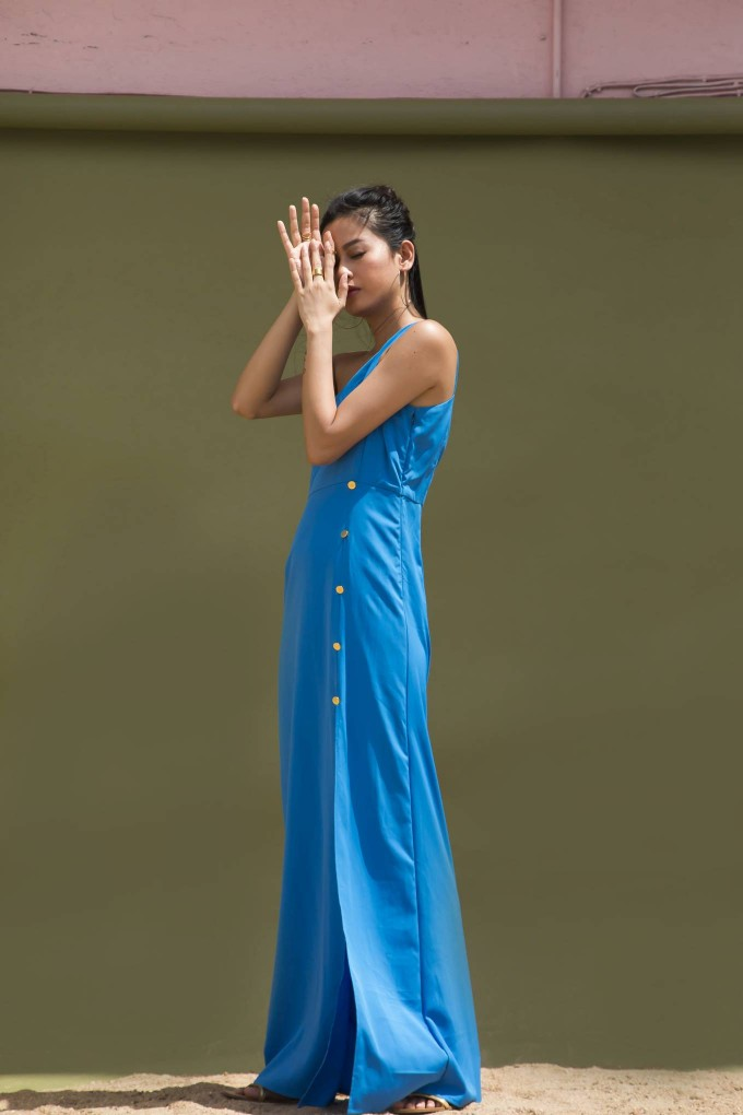 BLUE ONE SHOULDER LONG DRESS WITH SLIT AND GOLDEN BUTTON DETAIL