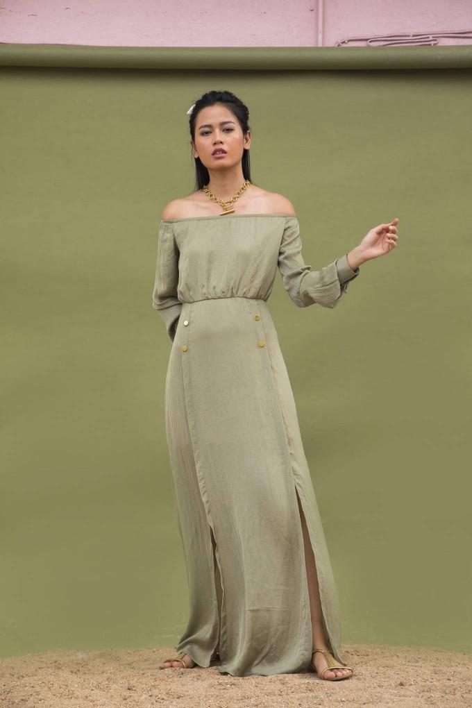 OLIVE GREEN OFF SHOULDER LONG DRESS WITH SLITS AND GOLDEN BUTTON DETAIL