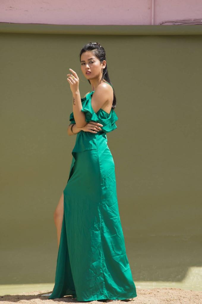 GREEN SATIN OFF SHOULDER LONG DRESS WITH SLIT